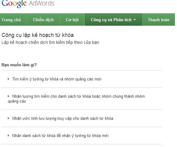 1384513422 google planner Công cụ lập kế hoạch từ khóa Google Keywords Planner